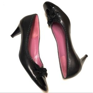 Ferragamo Black Patent & Leather Spectator Heels